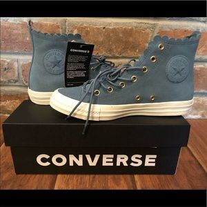 Converse Blue Suede Scalloped Edge High Top Shoes